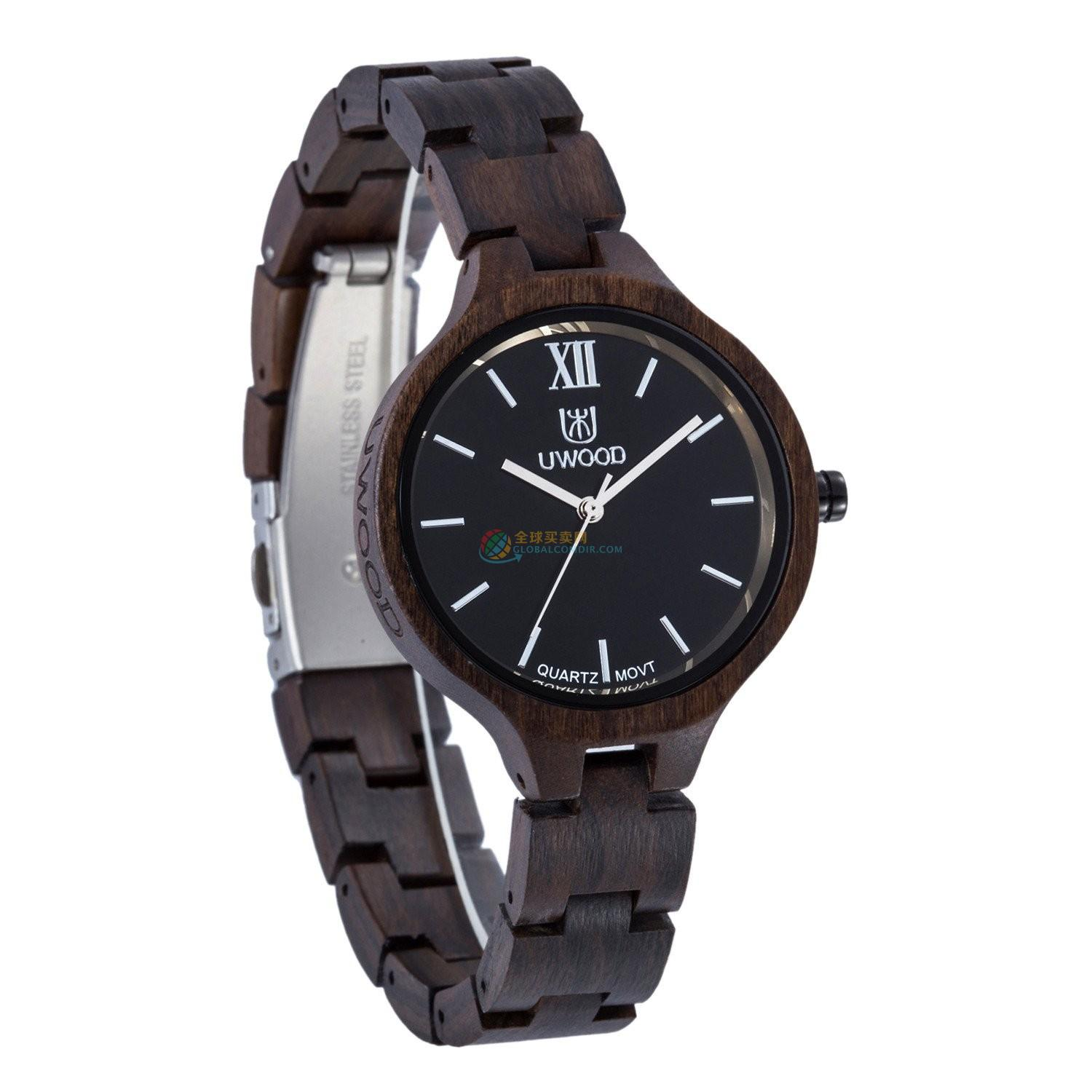 WoodWatch008 Black Sandal Wood Watch for Women