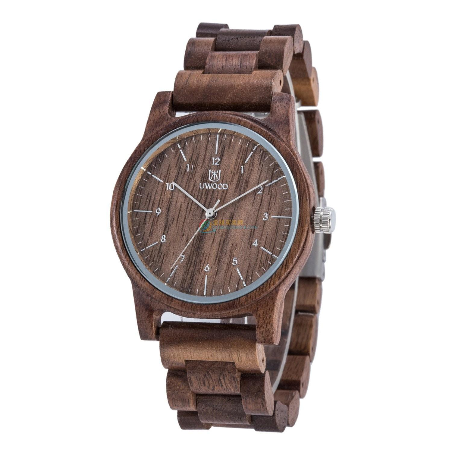 WoodWatch011 Tan Walnut Wood Watch for Men