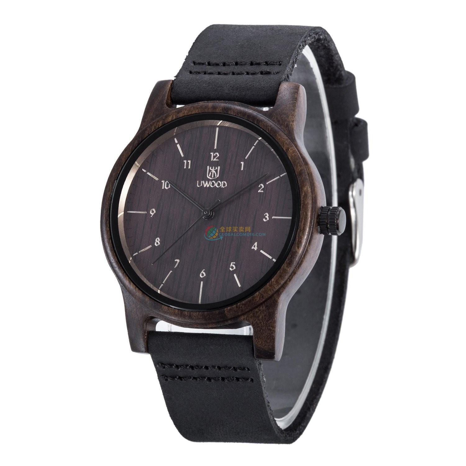 WoodWatch013 Black Sandal Wood Genuine Black Leather Strap