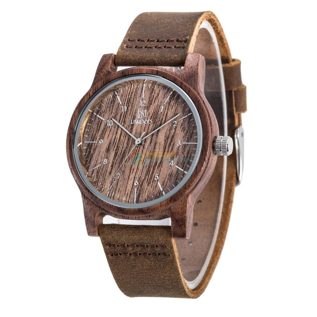 WoodWatch014 Walnut Wood Genuine Leather Strap